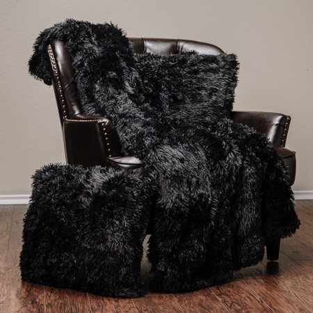 Chanasya 3 Piece Super Soft Shaggy Throw Blanket Pillow