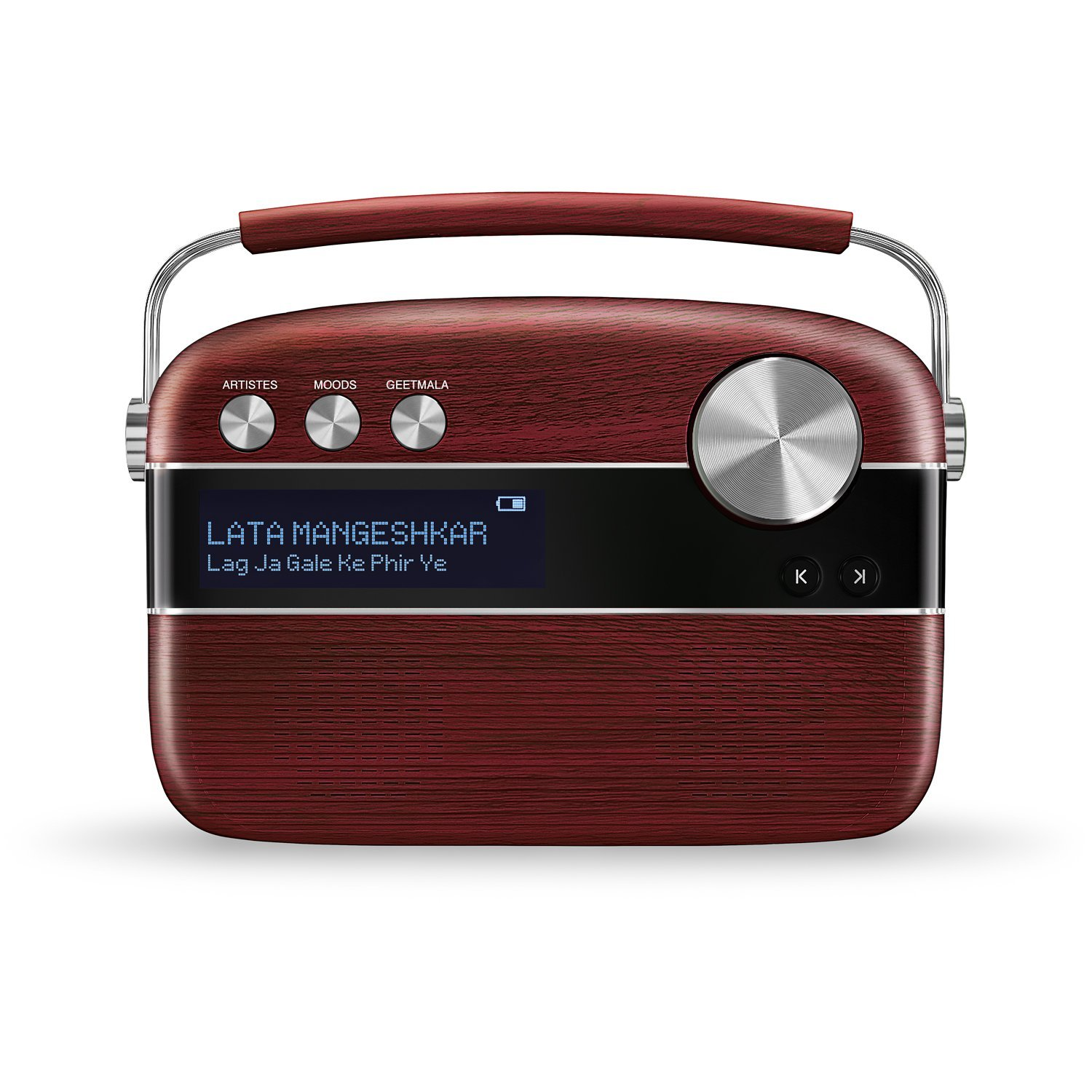 Saregama Carvaan Hindi Portable Digital Music Player (Cherrywood Red) 5000 Songs Music Collection