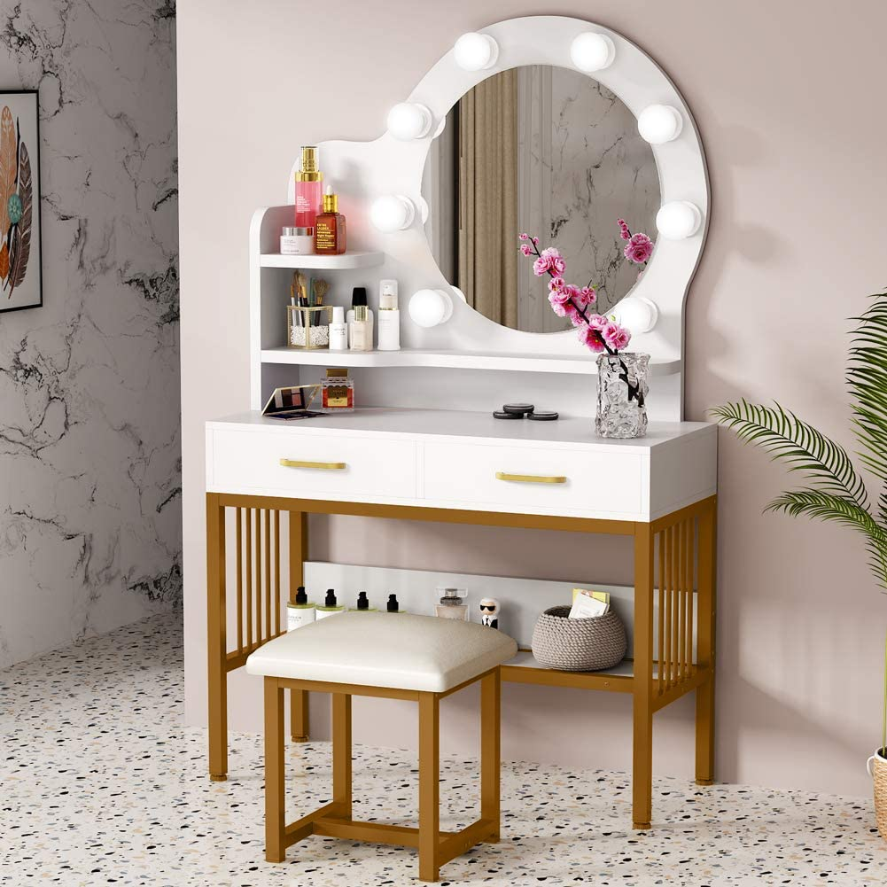 tribesigns vanity set with round lighted mirror and