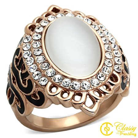Classy Not Trashy® Women's Rose Gold Tone Stainless Steel White Faux Cat Eye Ring, Size 5