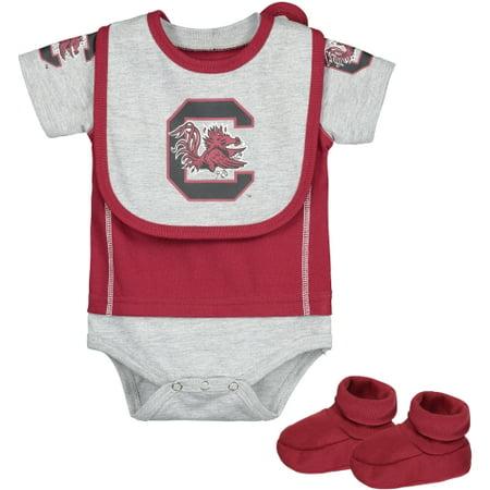 Outerstuff Baby South Carolina Gamecocks 3 Piece Bib Bootie & Bodysuit Set - Garnet Hill For Kids