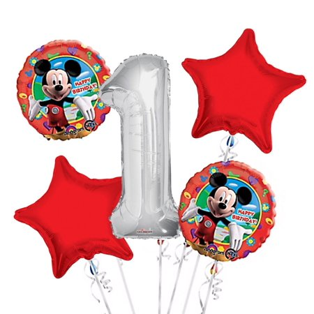 Mickey Mouse Balloon Bouquet 1st Birthday 5 pcs - Party Supplies, 1 Giant Number 1 Balloon, 34in By Viva Party - Mickey Mouse First Birthday Balloons