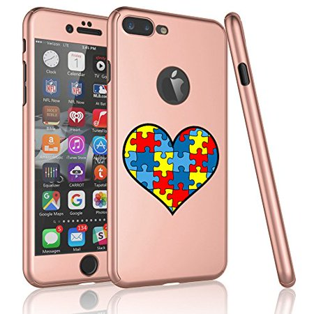 For Apple iPhone 360° Full Body Thin Slim Hard Case Cover + Tempered Glass Screen Protector Heart Puzzle Autism Color (Rose Gold For iPhone 6 / 6s)](Color For Autism)