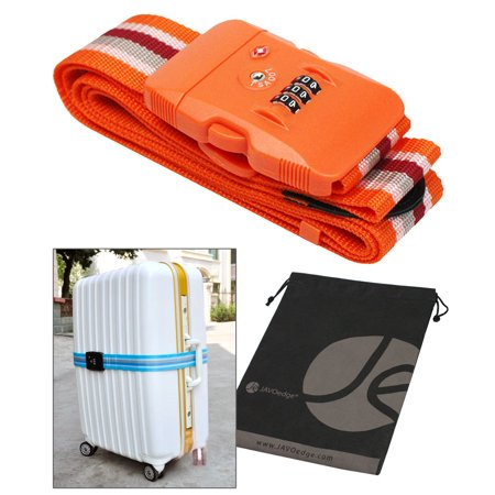 Striped Tsa Approved 3 Dial Combination Lock Luggage Strap With Built In Lock And Bonus Reusable Storage Bag