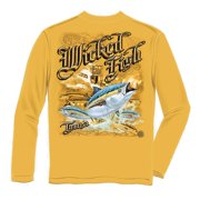 Wicked Fish Tuna Long Sleeve Fishing T-shirt by , Yellow