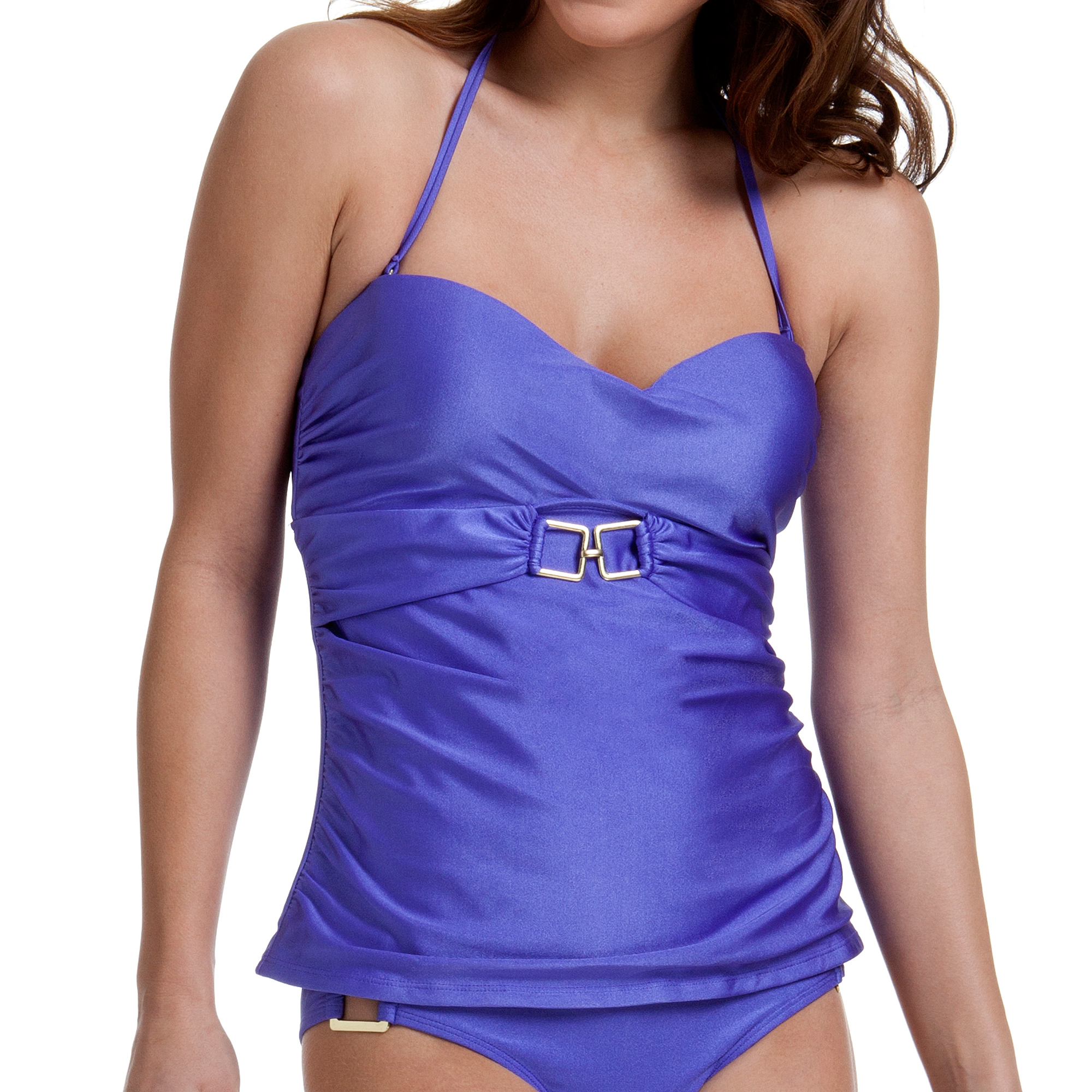 Miss America by Catalina Women's Belted Tankini Top With Metal Accents