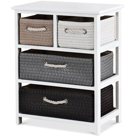 Bedroom Wood Nightstand with Storage 4 Woven Basket Cabinet Bedside Table White