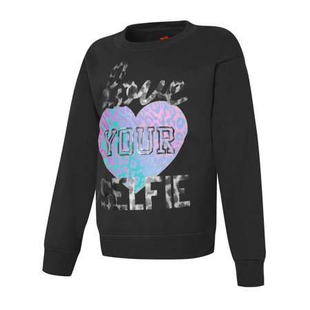 Hanes Girls` EcoSmart Graphic Crewneck Sweatshirt, OK268, XL for $<!---->