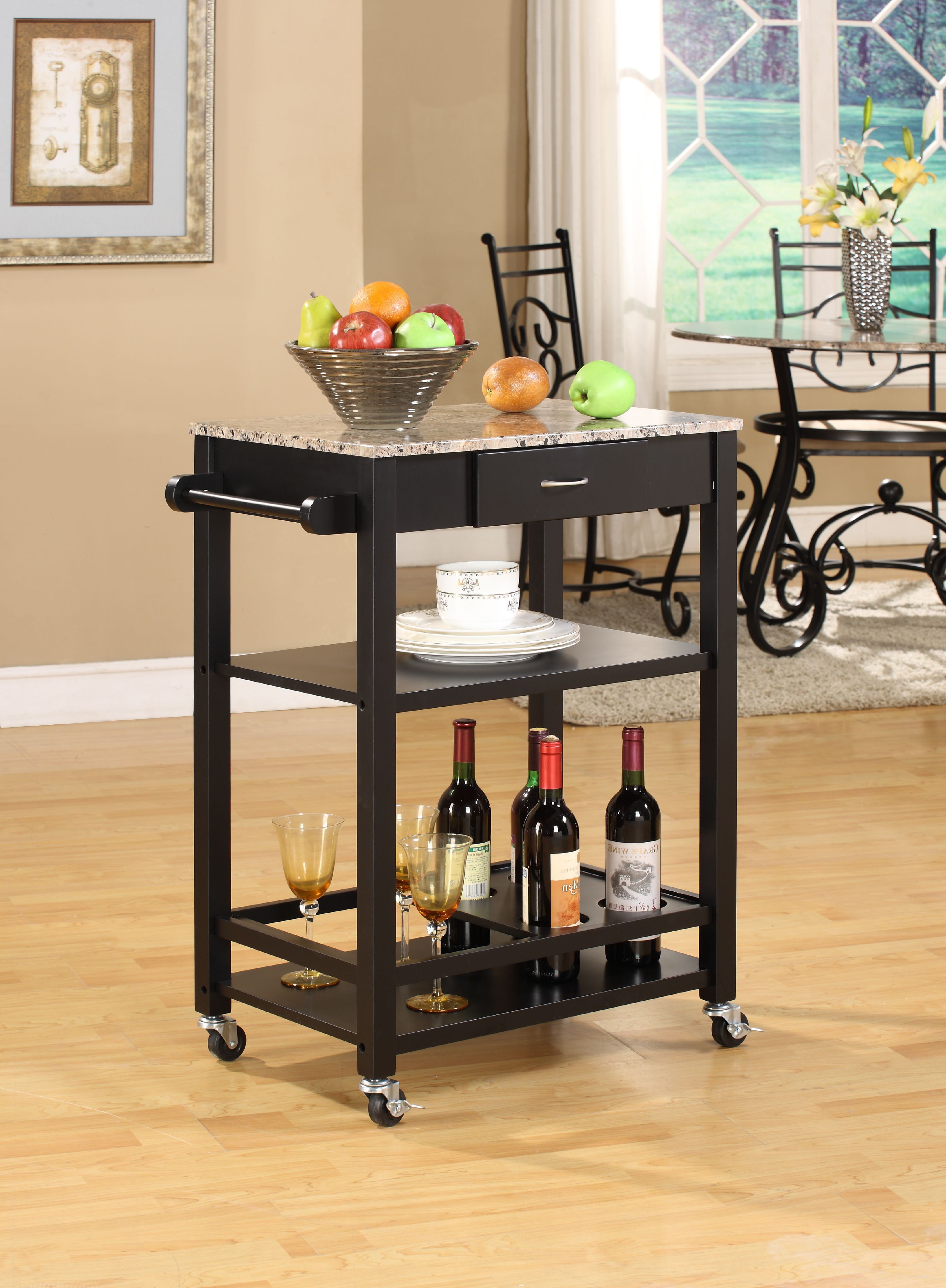Black & Marble Wood Contemporary Kitchen Serving Cart With Storage Drawer & Shelves by