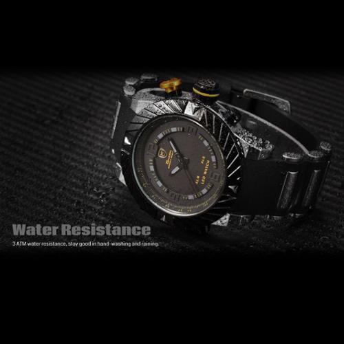 Shark Sport Watch Mens Digital Date Day Alarm LED Black Stainless Steel Case Rubber Brand Quartz Wrist Watch Sport Fashion SH168 (Christmas Gift for men)