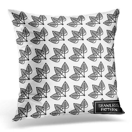 Stylized Linear Leaf (CMFUN Geometric Pattern Line Packaging Mono Linear Floral Label Minimal Monochromatic Design Scandinavian Leaf Pillow Case Pillow Cover 20x20 inch )