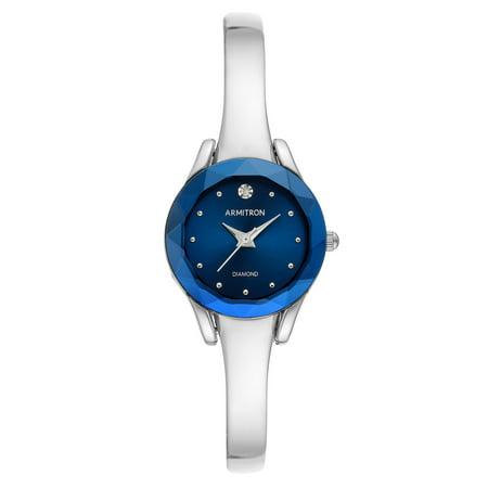 Armitron Women's Silver-Tone and Blue Diamond Dial Bangle Dress Watch Ladies Diamond Dial Black Case