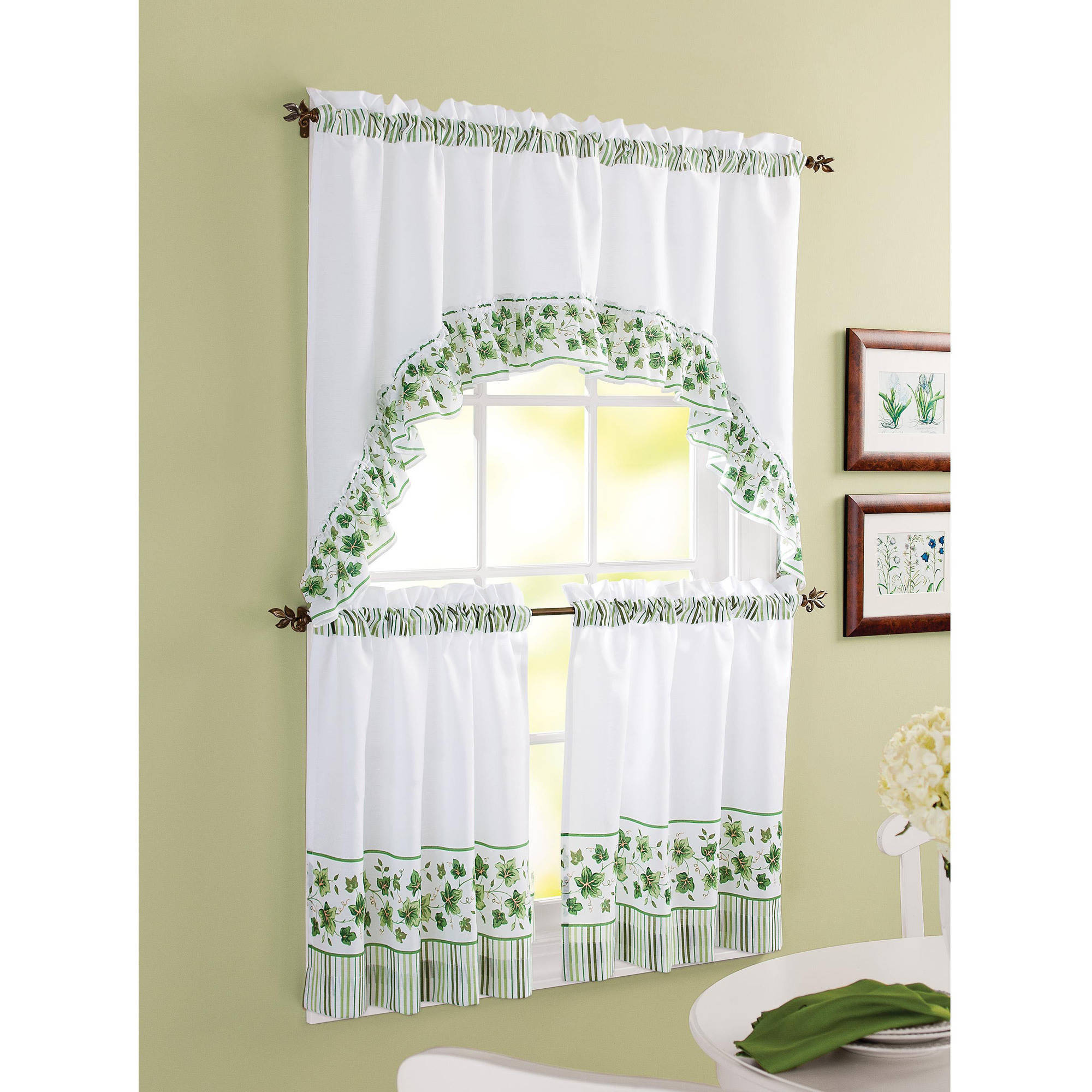 Chf you morning rooster tier curtain panel set for Kitchen window curtains