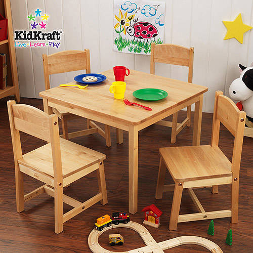 This button opens a dialog that displays additional images for this product with the option to zoom in or out. & KidKraft - Farmhouse Table and 4 Chairs Set Multiple Colors ...