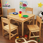 KidKraft - Farmhouse Table and 4 Chairs Set, Multiple Colors