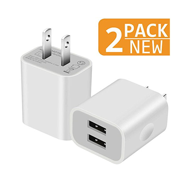 Charger, 2.1A5V Dual 2 Port USB Plug Wall Charger Plug Power Adapter Fast Charging Cube (White) 2 Pack