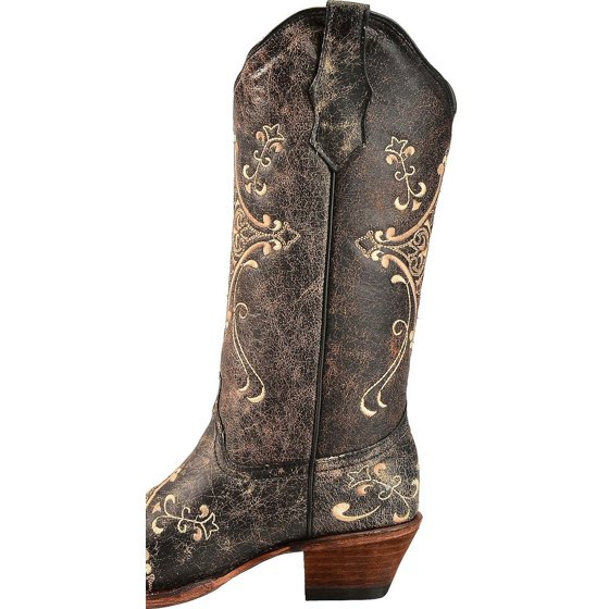 9a3b924829c Corral Women's Circle G Crackle Scroll Bone Embroidered Western Boot