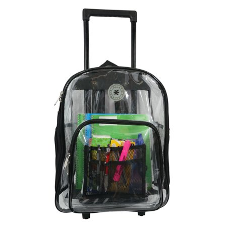 K-Cliffs Rolling Clear Backpack Heavy Duty See Through Daypack School Bookbag with Wheels