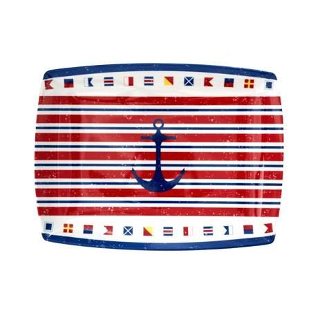 Nautical Anchor & Flags Rectangular Melamine Tray