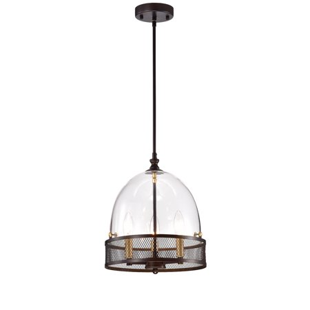 Leandro Antique Bronze 3-Light Pendant with Clear Glass Shade