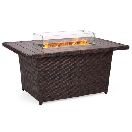 Best Choice Products 52in Outdoor Wicker Propane Gas Fire Pit Table for Patio, 50,000 BTU w/ Aluminum Tabletop, Glass Wind Guard, Clear Glass Rocks, Cover, Slide Out Tank Holder, Lid -