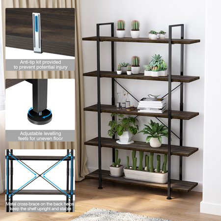 5-Tier Bookcase, Vintage Rustic Bookshelf with Black Metal Frame and Multifunctional Antique Wood Look, Open Etagere Stand Storage Organizer Accent Furniture for Home and Office ()