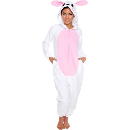 Bunny 4 Piece (Silver Lilly Adult Slim Fit One Piece Cosplay Bunny Animal Pajamas)