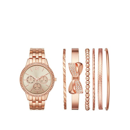 Las Rose Gold Watch And Stackable Bracelet Gift Set