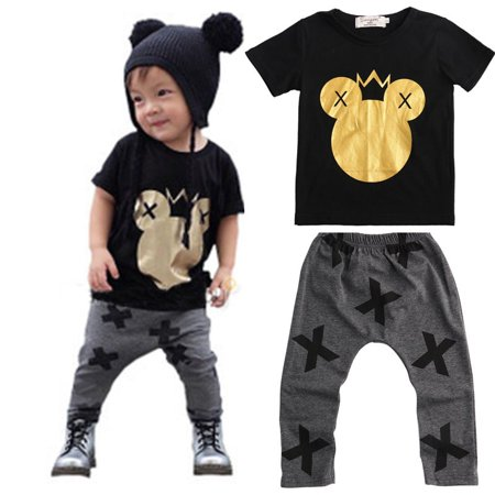 Baby Kids Boys Mickey Mouse Cartoon T-shirt Tops+Pants 2pcs Outfits Set 1-5Y](Mickey Mouse 1st Birthday Outfit Boy)