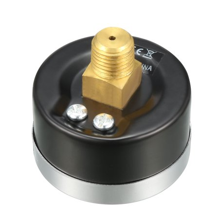 """Pressure Gauge , 0-200 PSI/0-14 BAR Dual Scale , 1.8"""" Dial Display , 1/4"""" NPT Male Center Back Mount ,with Brass Intern - image 1 of 4"""