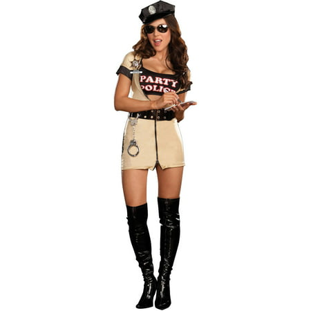 Party Police Women's Adult Halloween Costume (Halloween Party Decor Adults)