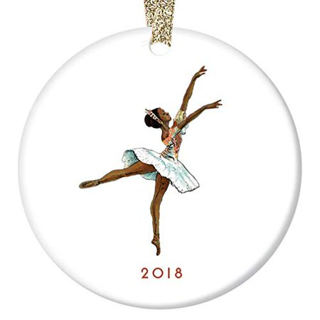 "Vintage Nutcracker Ballerina Ornament 2018 Black Ballerina Sugarplum Fairy Ballet Porcelain Ornament, Dark Skin Ballerina 3"" Flat Circle Christmas Ornament w Gold Ribbon & Free Gift Box | OR00030 Emma"