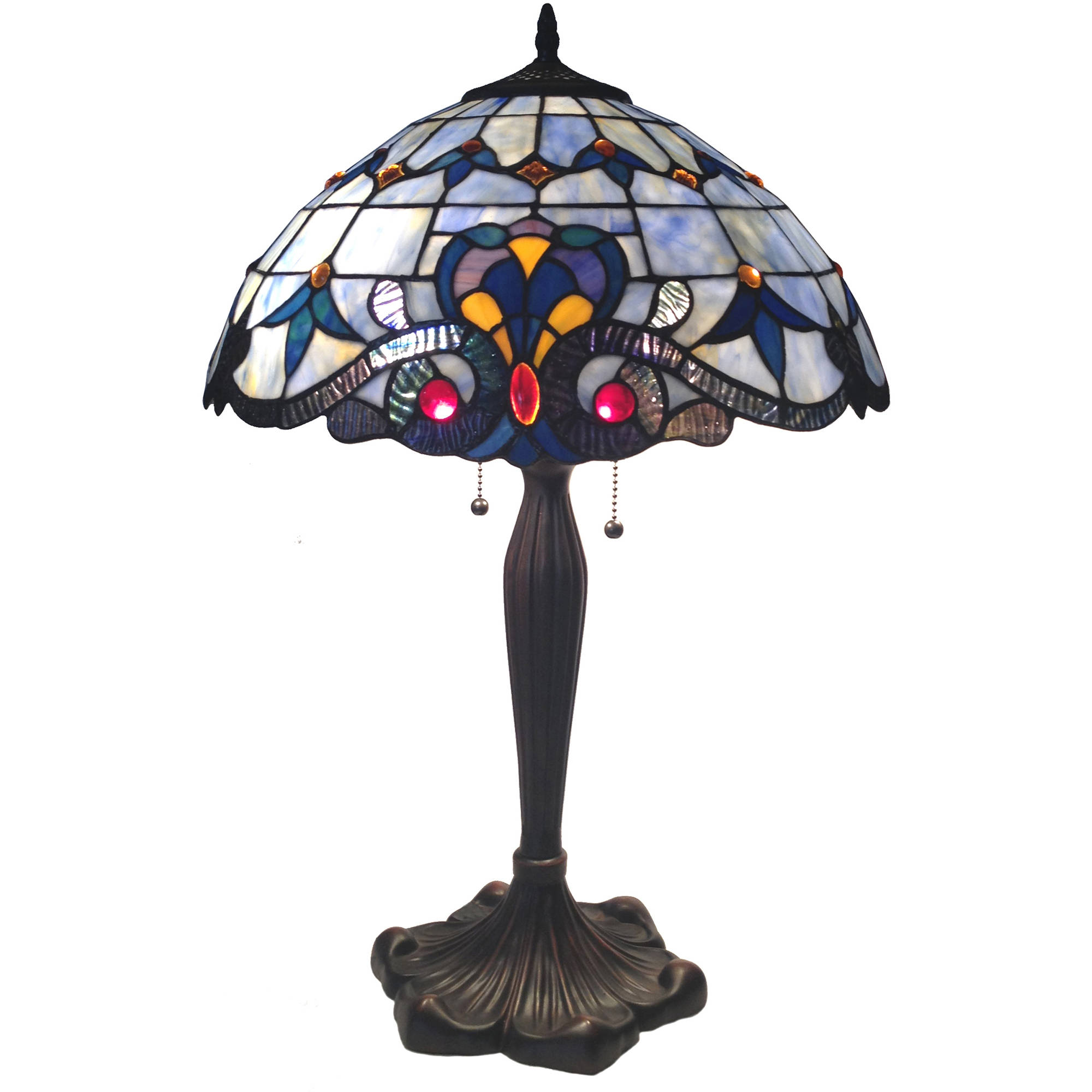 "Chloe Lighting Bavarian Tiffany-Style 2-Light Victorian Table Lamp with 16"" Shade"
