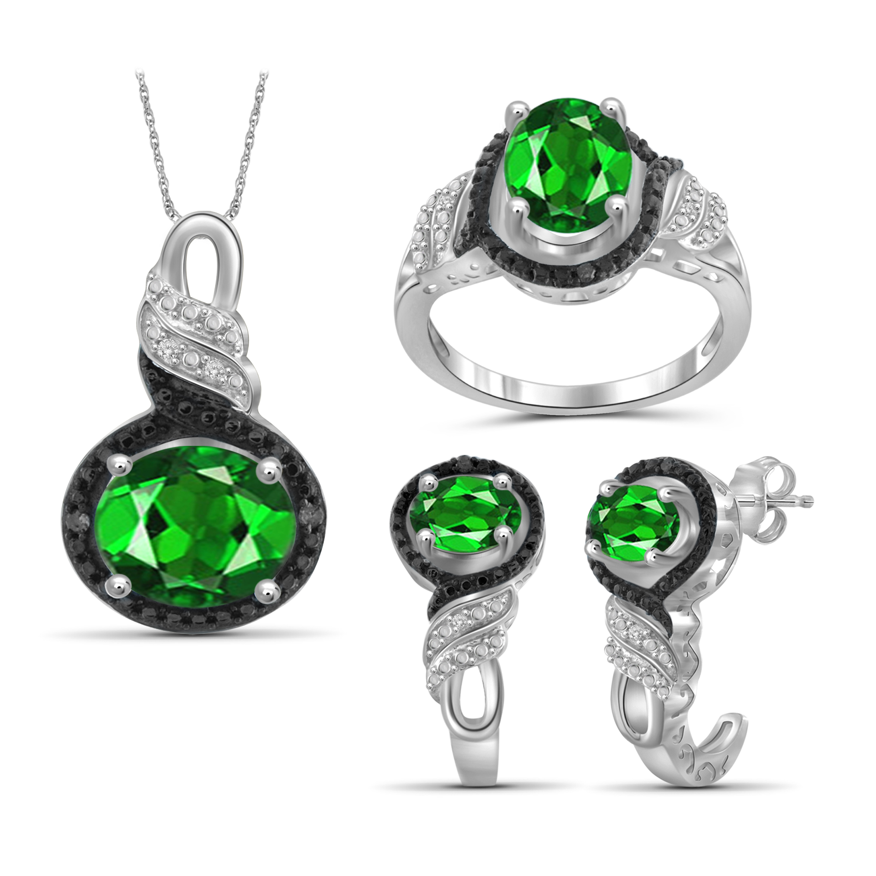 JewelersClub 4 1/5 Carat T.G.W. Chrome Diopside And Black & White Diamond Accent Sterling Silver 3-Piece Jewelry set