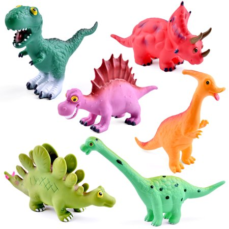 6 PCs Bath Rubber Dinosaur Toys Baby and Children Bath Toys in Assorted Pool Water Squirts Toy F-197