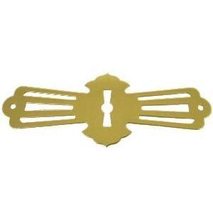 Restoration Hardware Silk - Stamped Brass Roll Top Desk Keyhole Cover - Antique Furniture Restoration Hardware - E-16