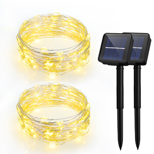 VicTsing LED Solar Powered String Lights, 100 LEDs & 8 Modes, 33ft, For Outdoor/Indoor Garden, Patio, Backyard, Party, ect.Warm White (2 Pack)