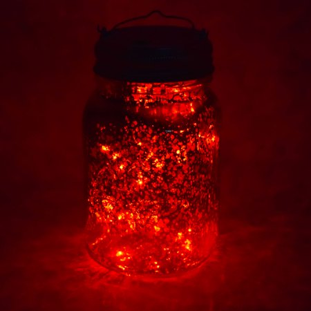 Fantado Wide Mouth Gold Mercury Glass Mason Jar Light w/ Hanging Red Fairy LED Kit by PaperLanternStore