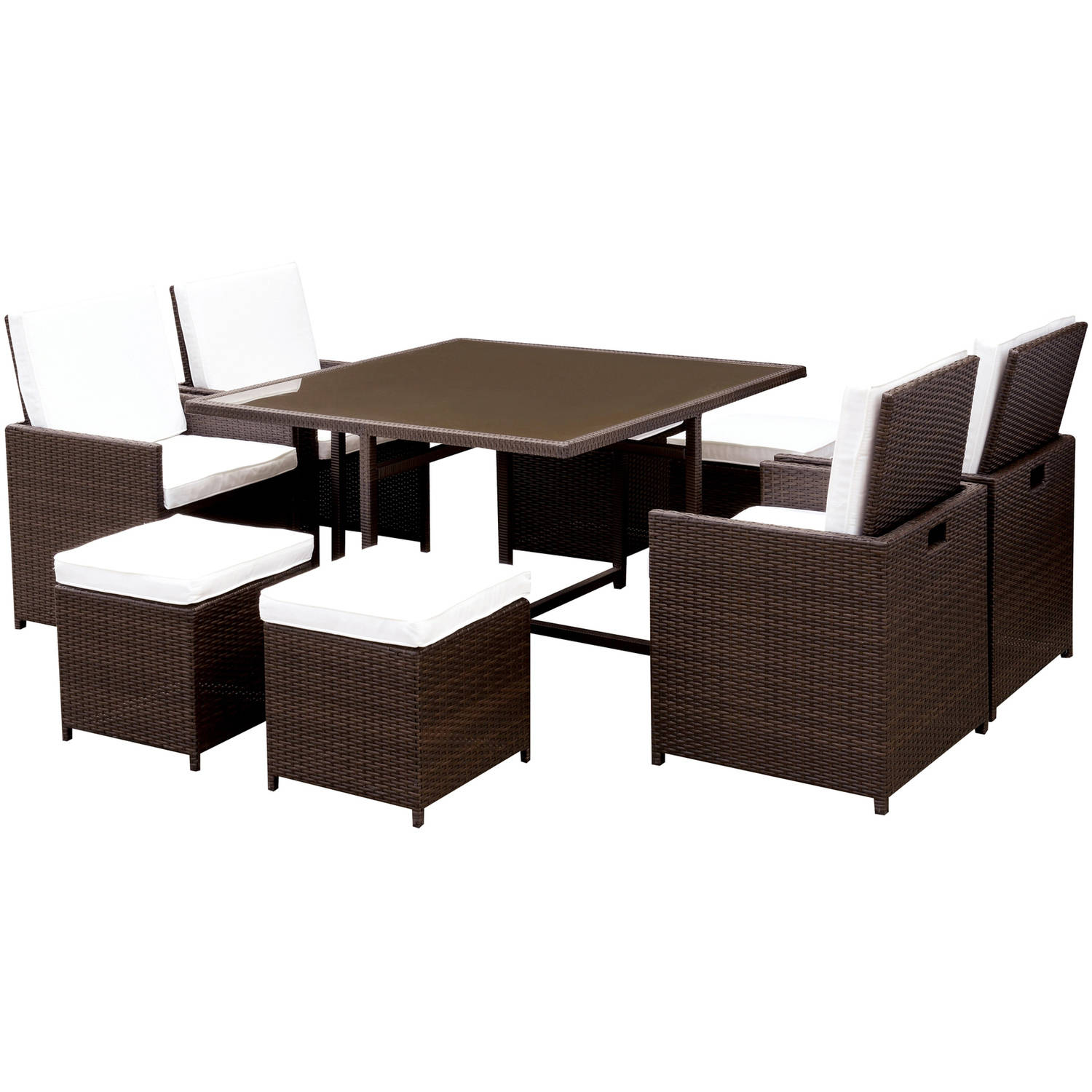 Furniture of America Meka 9-Piece Patio Dining Room Set, White and Espresso by Furniture of America