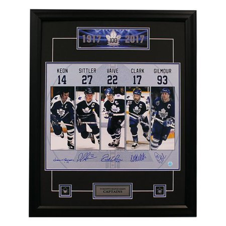 AJ Sports World KEOD10453A 25 x 31 in. Keon Sittler Vaive Clark Gilmour Signed Toronto Maple Leafs Captains Frame