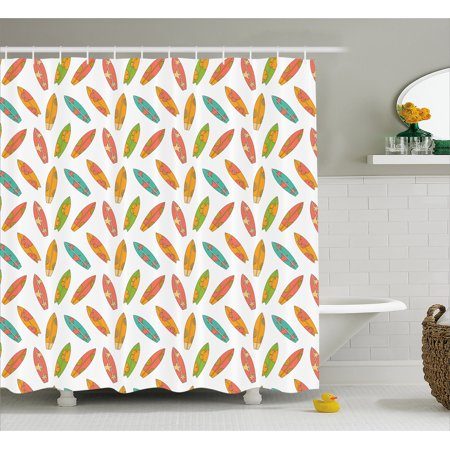Surfboard Shower Curtain, Fun Colorful Surfing Boards Water Sports Summer Tropical Beach Activity Hawaii, Fabric Bathroom Set with Hooks, 69W X 84L Inches Extra Long, Multicolor, by Ambesonne (Hawaiian Activities)