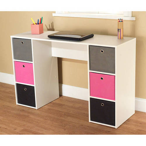 Student Writing Desk With 6 Fabric Bins Multiple Colors