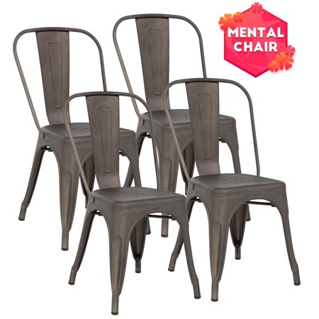Stackable Chair Restaurant Chair Metal Chair Chic Metal Kitchen Dining Chairs Set of 4 Trattoria Chairs Indoor/Out Door Metal Tolix Side Bar (Stackable Restaurant Chairs)