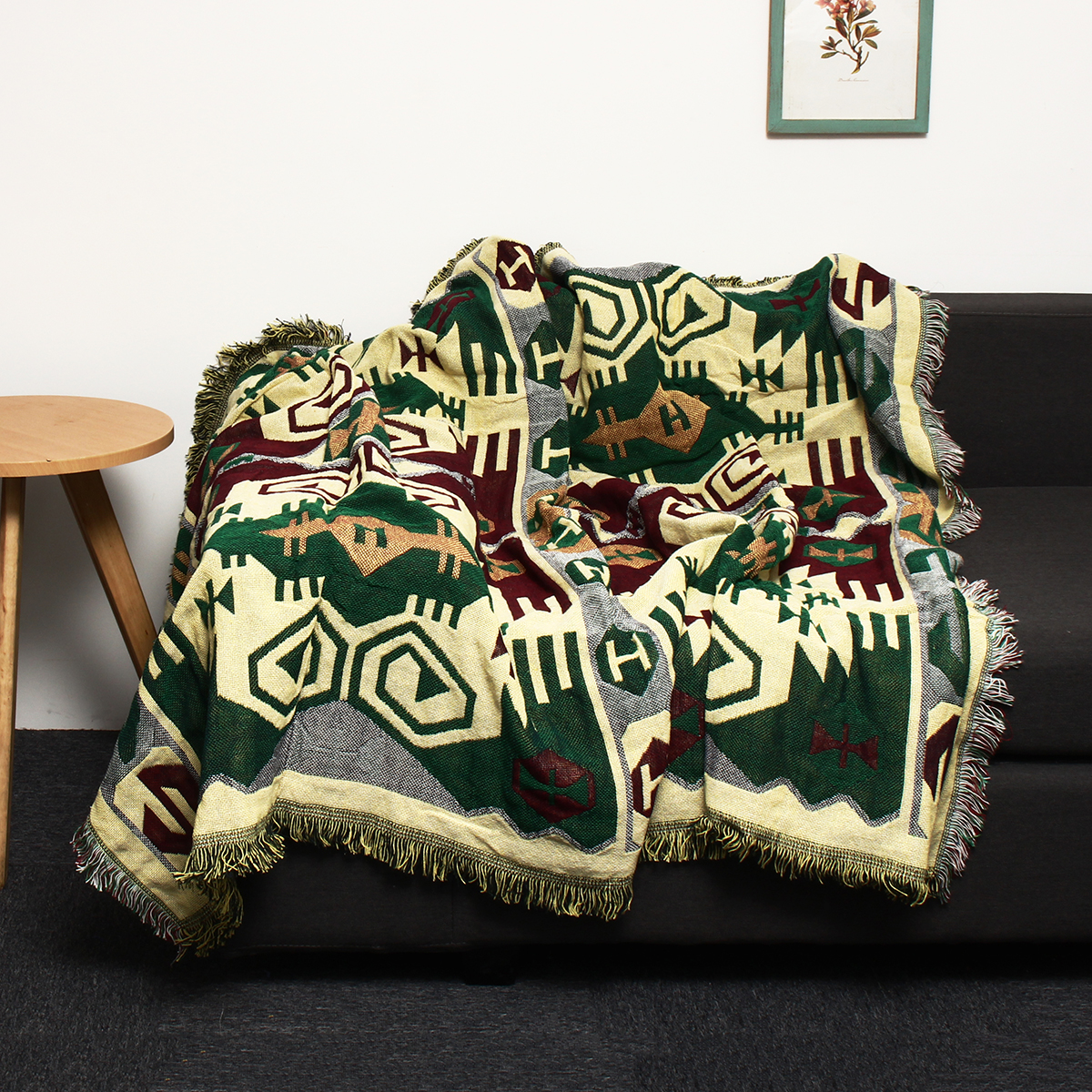 Picture of: 71 X51 Soft Cotton Throw Blanket Decorative Bohemian Ethnic Sofa Throw Blanket Knit Fringed Couch Blanket Living Room Bed Throw Blanket For All Season Walmart Com Walmart Com