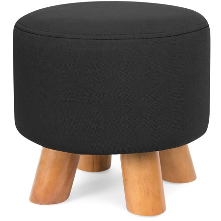 Best Choice Products Upholstered Padded Pouf Ottoman Footrest Stool w/ Removable Linen Cover, Non-Skid Legs - Black ()