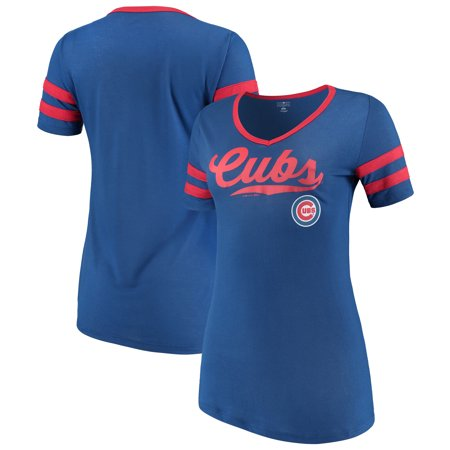 Women's New Era Royal Chicago Cubs Jersey V-Neck T-Shirt ()
