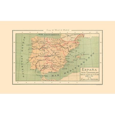 Map Of Spain 711.International Map Spain 572 Ad 711 Ad Artero 1879 36 25 X 23