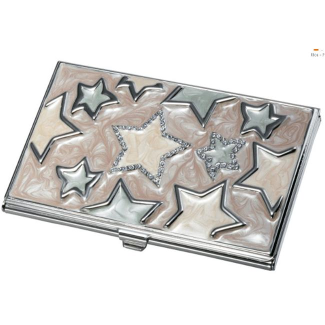 Visol V703B Seren Stars and Stainless Steel Business Card Case