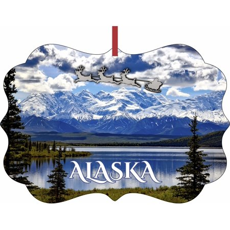 Santa and Sleigh Over The Denali Mountains, Alaska - TM - Double-Sided Benelux Shaped High Gloss Hanging Holiday Ornament ()