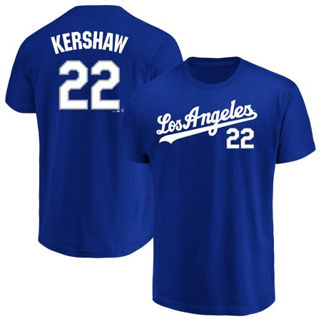 Men's Majestic Clayton Kershaw Royal Los Angeles Dodgers Name & Number T-Shirt